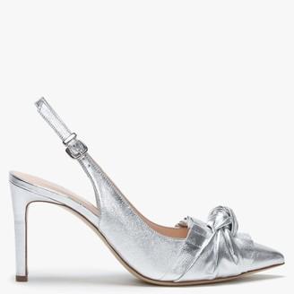 9eb6c3c3aba Daniel Arianna Rosso Silver Leather Ruffle   Bow Sling Back Heels