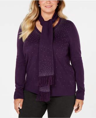 Karen Scott Plus Size Embellished Sweater & Scarf