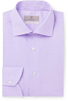 Canali Light-Pink Slim-Fit Cotton-Poplin Shirt