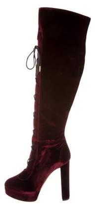 Jimmy Choo Velvet Lace-Up Boots