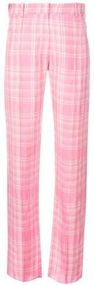 Victoria Beckham plaid straight leg trousers