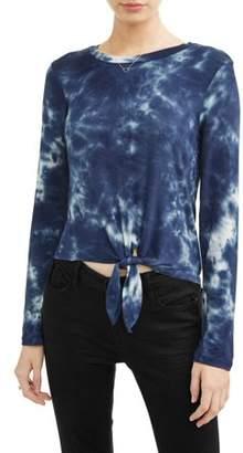 Self Esteem Juniors' Tie Dye Tie Front Crew Neck Long Sleeve T-Shirt