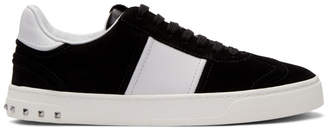 Valentino Black and White Garavani Suede Flycrew Sneakers