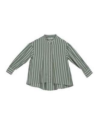 Brunello Cucinelli Girl's Striped Button-Down Silk Blouse w/ Monili Placket, Size 12