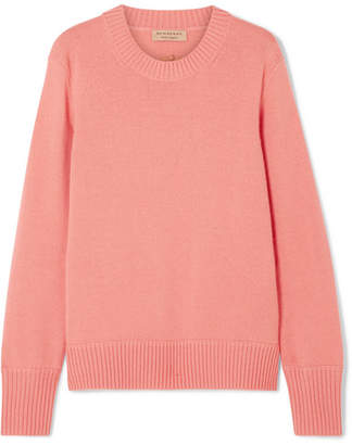 Burberry Embroidered Cashmere-blend Sweater - Coral