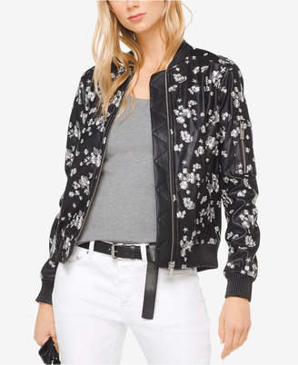 Michael Kors MICHAEL Embroidered Faux-Leather Bomber Jacket