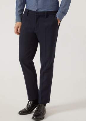 Emporio Armani Classic Pleated Trousers With Central Crease