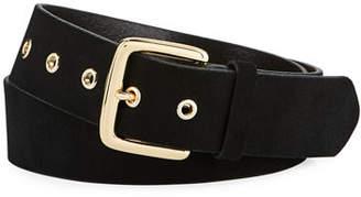 Frame Square-Buckle Leather Grommet Belt