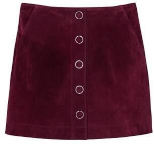 MANGO Pocketed leather skirt
