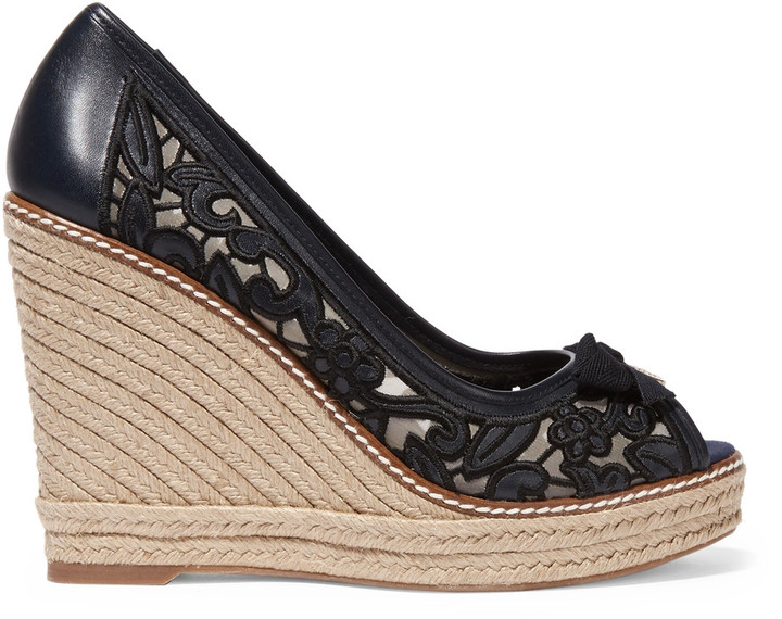 Tory BurchTory Burch Lucia embroidered mesh and leather wedge espadrilles