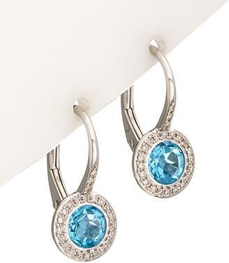 Diana M Fine Jewelry 14K 1.63 Ct. Tw. Diamond & Topaz Earrings
