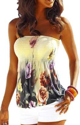 yulinge Womens Tunic Tops Summer Off Shoulder Bandeau Tube Floral Shirt XL