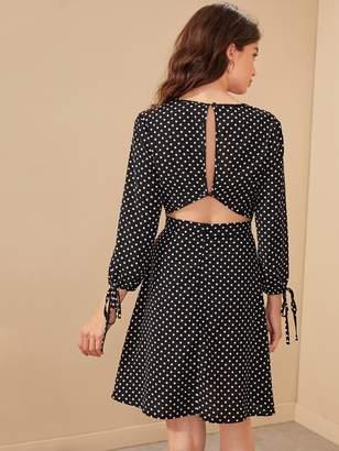 Shein V-neck Polka Dot Keyhole Back Knot Cuff Dress