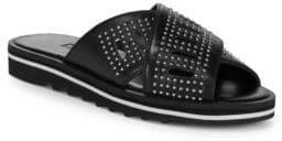 Charles David Sneakey Crisscross Leather Slides