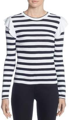 Catherine Malandrino Karina Ruffle Shoulder Stripe Sweater