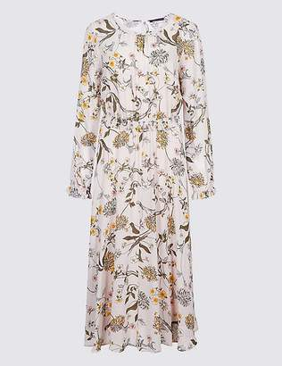 Marks and Spencer Floral Print Long Sleeve Skater Maxi Dress