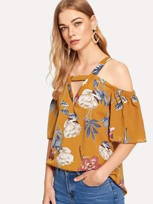 9d1942077bd60 Shein Open Shoulder Cut Out Floral Blouse