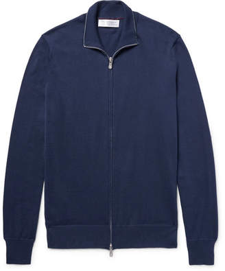 Brunello Cucinelli Contrast-Tipped Cotton Zip-Up Cardigan