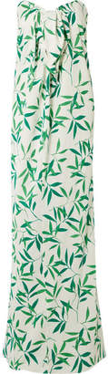 Caroline Constas Kaia Knotted Printed Voile Maxi Dress - Green
