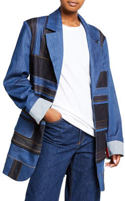 NO KA 'OI No Ka Oi Patchwork Denim Jacket