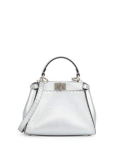 FendiFendi Peekaboo Mini Satchel Bag, Silver