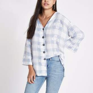 River Island Blue check button front bar back blouse