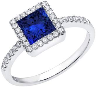 Lafonn Platinum Over Sterling Silver Micro Pave Simulated Diamond & Blue Lab Sapphire Princess Halo Ring