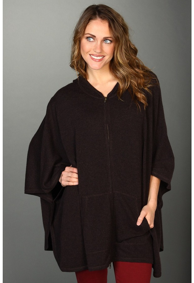 Autumn Cashmere Zip Front Hoodie Poncho (Coffee) - Apparel