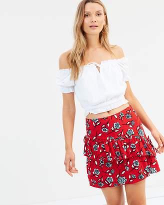 MinkPink Red Blooms Mini Skirt