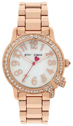 Betsey Johnson Rose Goldtone Stainless Steel Link Bracelet Watch