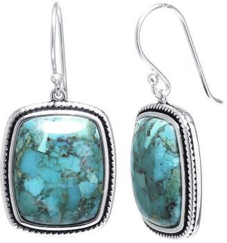 FINE JEWELRY Enhanced Turquoise Sterling Silver Rectangular Drop Earrings