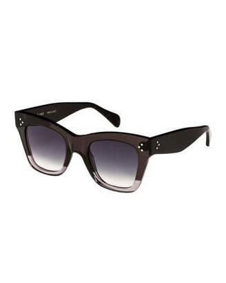 Celine Two-Tone Gradient Cat-Eye Sunglasses, Gray Pattern