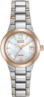 Citizen Eco-Drive Womens Two-Tone Mother-of-Pearl Watch EW1676-52D