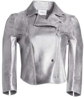 Akris Punto Metallic Leather Perforated Biker Jacket