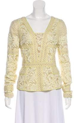 J. Mendel Lace Long Sleeve Top