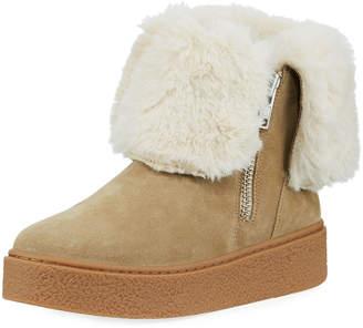 J/Slides Brynn Sneaker Bootie with Faux-Fur Collar