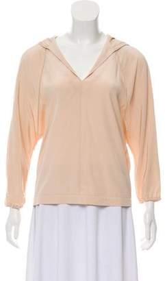 Tibi Hooded Silk Sweatshirt Top