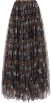 Brunello Cucinelli Pleated Printed Tulle Maxi Skirt - Black