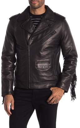Daniel Won Fringe Lamb Leather Biker Jacket
