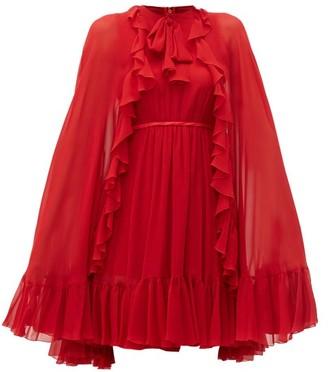 Giambattista Valli Ruffled Cape Silk Chiffon Mini Dress - Womens - Red