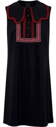 Anna Sui Layered Embroidered Crepe Mini Dress
