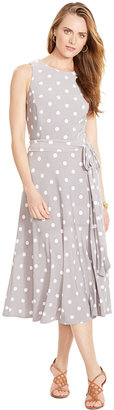 Lauren Ralph Lauren Sleeveless Polka-Dot Dress