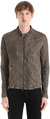 Giorgio Brato Zip-Up Reversed Leather Moto Jacket