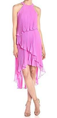 Laundry by Shelli Segal Women's Pleated Chiffon Cocktail Dress with Asymmetrical Hem