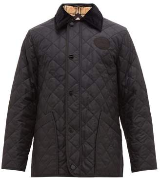 Burberry Cotswold Corduroy Collar Quilted Jacket - Mens - Black