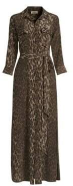 L'Agence Cameron Leopard Print Silk Shirt Dress