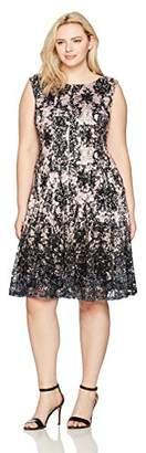Julian Taylor Women's Plus Size Full Figured Chandelier Printed Lace Dress