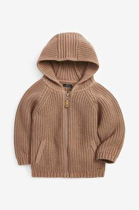 Next Boys Tan Zip Through Hooded Cardigan (3mths-7yrs) - Brown