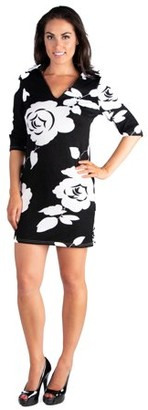 24/7 Comfort Apparel 24seven Comfort Apparel Classy Black and White Rose Print Collared Mini Dress