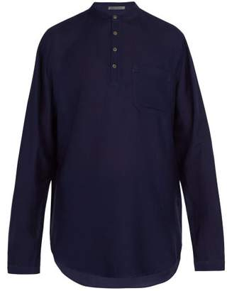 Denis Colomb Raj Half Button Silk Tunic - Mens - Dark Blue